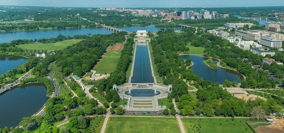 Looking West, World War II Memorial, Reflecting Pool, Lincoln Memorial